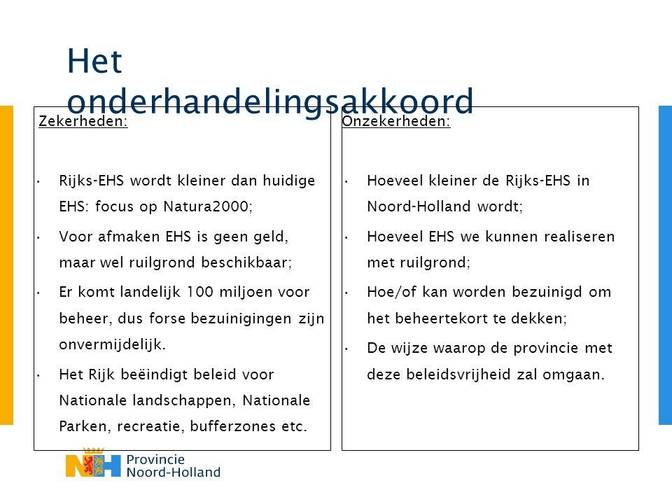 Het onderhandelingsakkoord Zekerheden: Rijks-EHS wordt kleiner dan huidige EHS: focus op Natura2000; Voor afmaken EHS is geen geld, maar wel ruilgrond