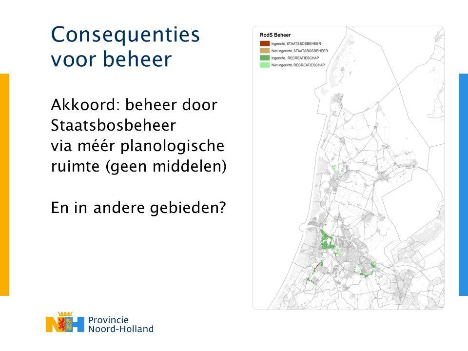 Consequenties voor beheer Akkoord: beheer door Staatsbosbeheer via méér planologische ruimte (geen middelen) En in andere gebieden