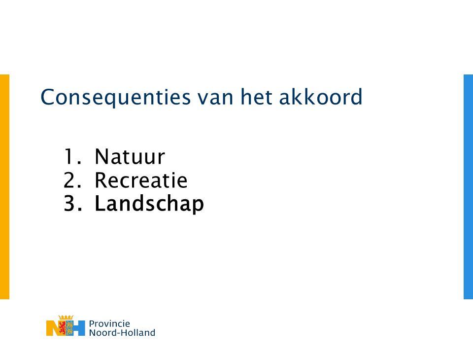 Consequenties van het akkoord 1.Natuur 2.Recreatie 3.Landschap