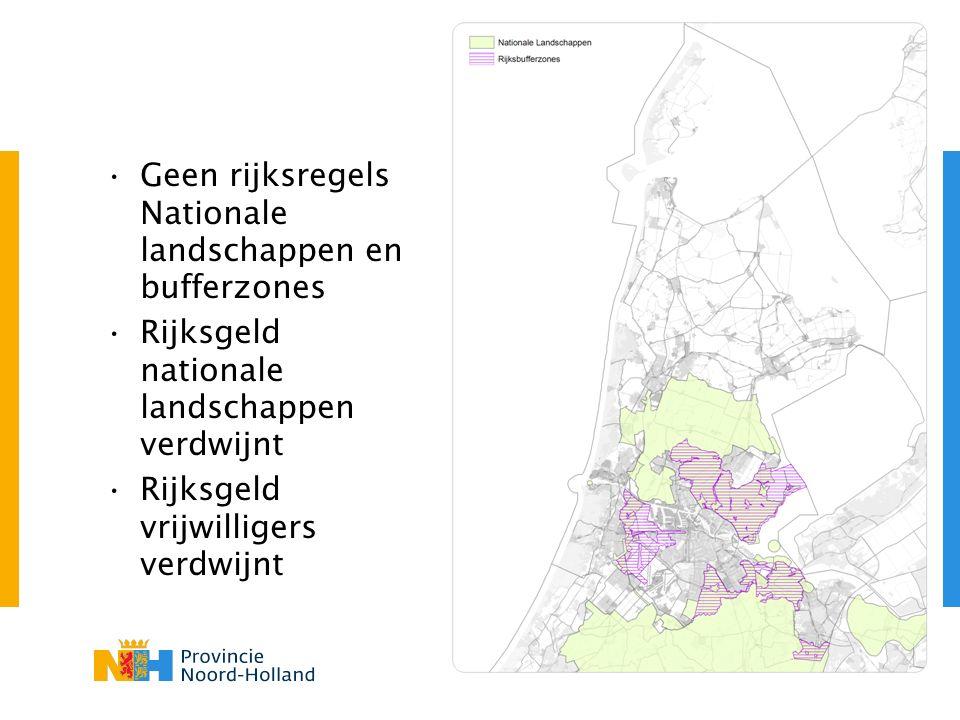 Geen rijksregels Nationale landschappen en bufferzones Rijksgeld nationale landschappen verdwijnt Rijksgeld vrijwilligers verdwijnt