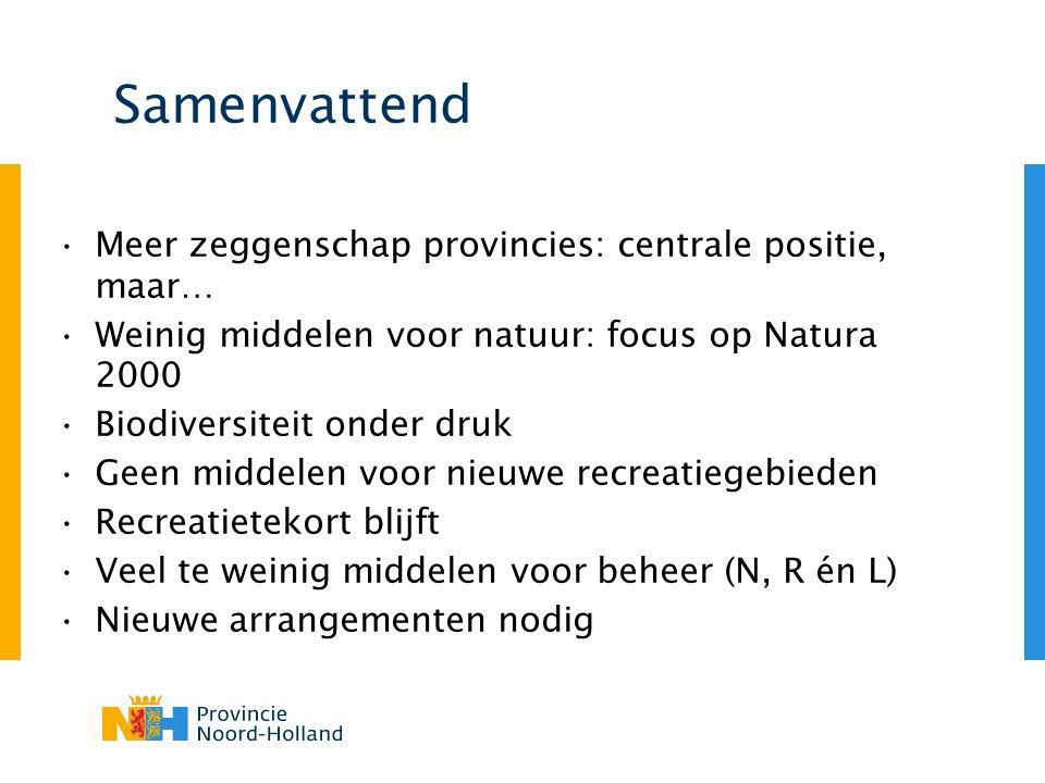 Samenvattend Meer zeggenschap provincies: centrale positie, maar… Weinig middelen voor natuur: focus op Natura 2000 Biodiversiteit onder druk Geen mid