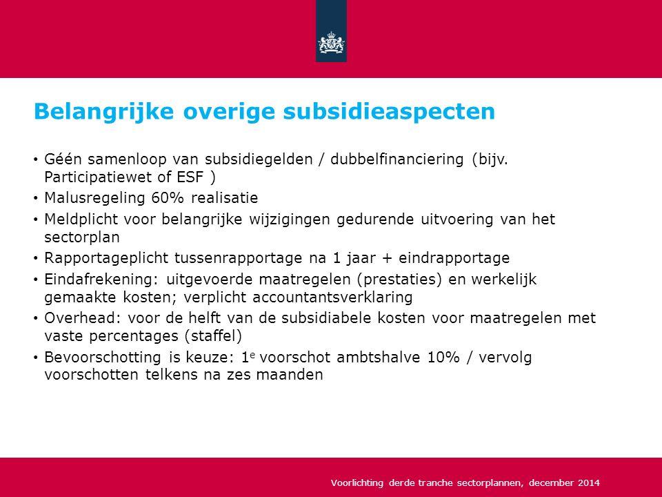 Belangrijke overige subsidieaspecten Géén samenloop van subsidiegelden / dubbelfinanciering (bijv.