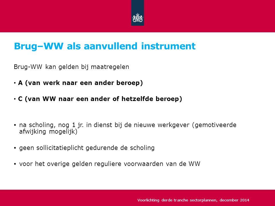 Brug–WW als aanvullend instrument Brug-WW kan gelden bij maatregelen A (van werk naar een ander beroep) C (van WW naar een ander of hetzelfde beroep) na scholing, nog 1 jr.