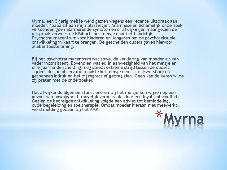 Myrna, een 5-jarig meisje werd gezien wegens een recente uitspraak aan moeder: 'papa zit aan mijn plassertje'.