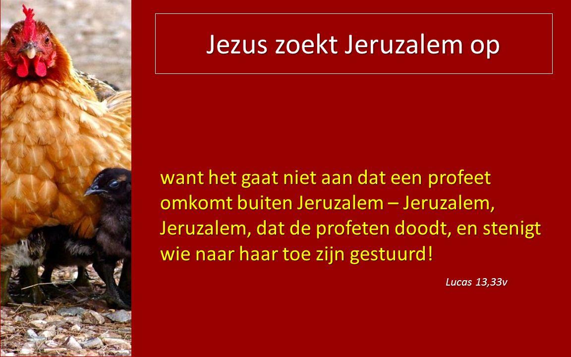 Jezus zoekt Jeruzalem op want het gaat niet aan dat een profeet omkomt buiten Jeruzalem – Jeruzalem, Jeruzalem, dat de profeten doodt, en stenigt wie naar haar toe zijn gestuurd.