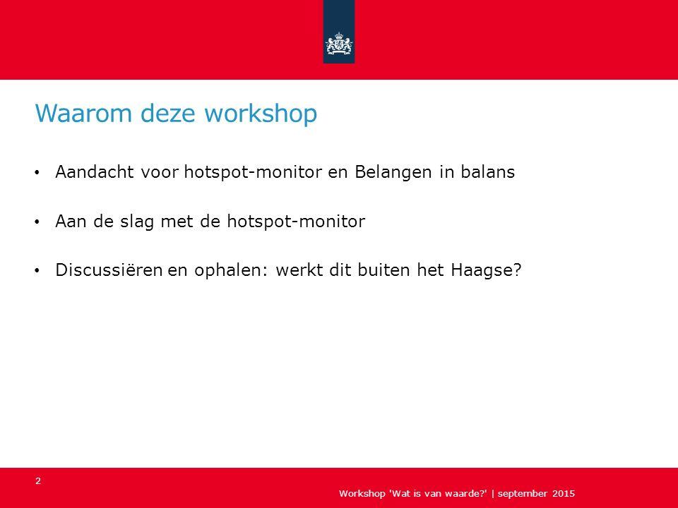 Waarom deze workshop Aandacht voor hotspot-monitor en Belangen in balans Aan de slag met de hotspot-monitor Discussiëren en ophalen: werkt dit buiten het Haagse.
