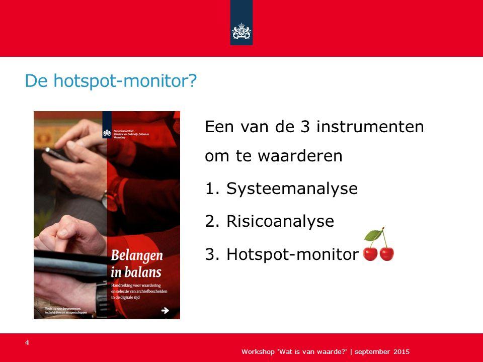 De basis Workshop Wat is van waarde?   september 2015 5 Bewaartermijn Selectielijst Hoe lang bewaren.