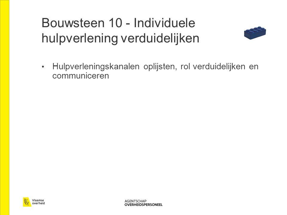 Bouwsteen 10 - Individuele hulpverlening verduidelijken Hulpverleningskanalen oplijsten, rol verduidelijken en communiceren