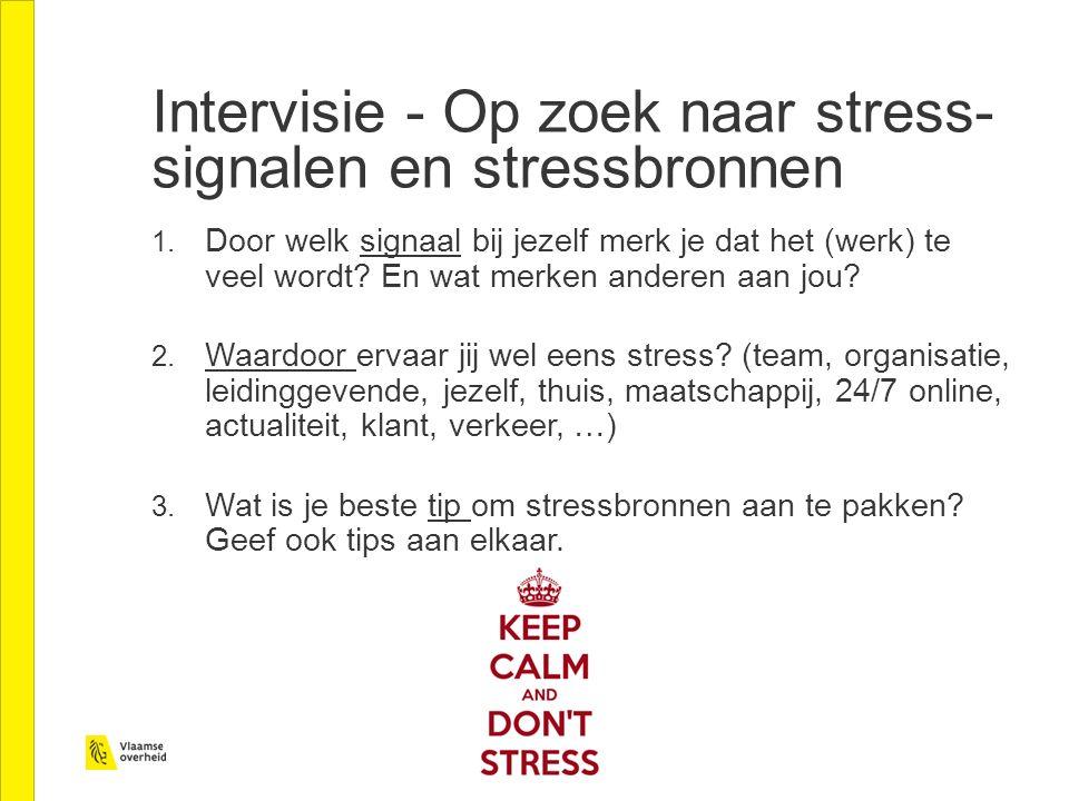 Intervisie - Op zoek naar stress- signalen en stressbronnen 1.