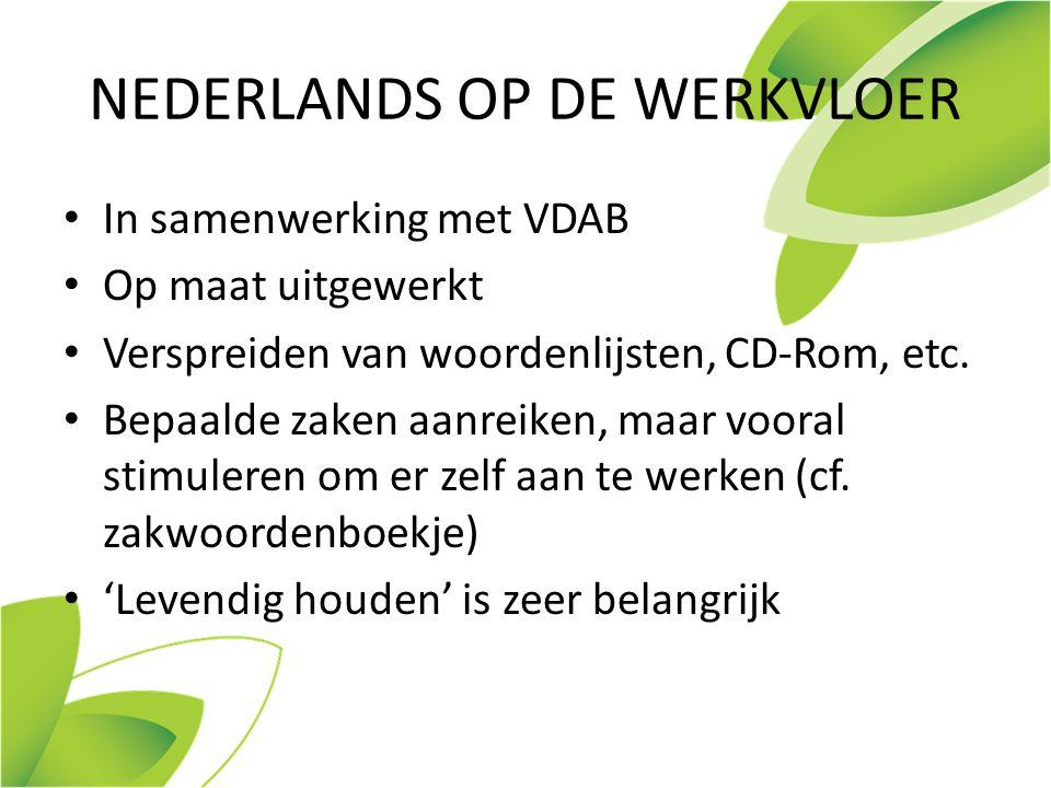 NEDERLANDS OP DE WERKVLOER In samenwerking met VDAB Op maat uitgewerkt Verspreiden van woordenlijsten, CD-Rom, etc.