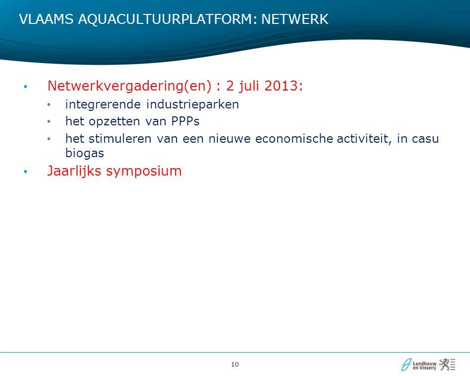 10 VLAAMS AQUACULTUURPLATFORM: NETWERK Netwerkvergadering(en) : 2 juli 2013: integrerende industrieparken het opzetten van PPPs het stimuleren van een nieuwe economische activiteit, in casu biogas Jaarlijks symposium