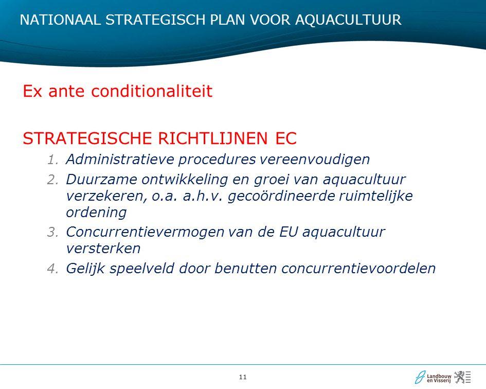 11 NATIONAAL STRATEGISCH PLAN VOOR AQUACULTUUR Ex ante conditionaliteit STRATEGISCHE RICHTLIJNEN EC 1. Administratieve procedures vereenvoudigen 2. Du
