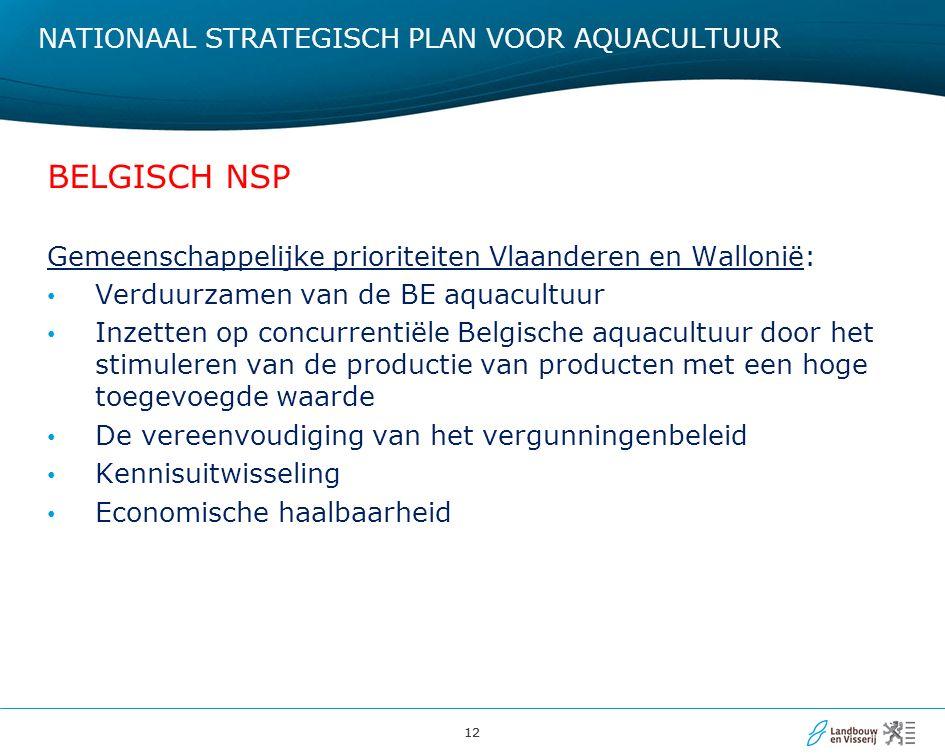 12 NATIONAAL STRATEGISCH PLAN VOOR AQUACULTUUR BELGISCH NSP Gemeenschappelijke prioriteiten Vlaanderen en Wallonië: Verduurzamen van de BE aquacultuur Inzetten op concurrentiële Belgische aquacultuur door het stimuleren van de productie van producten met een hoge toegevoegde waarde De vereenvoudiging van het vergunningenbeleid Kennisuitwisseling Economische haalbaarheid