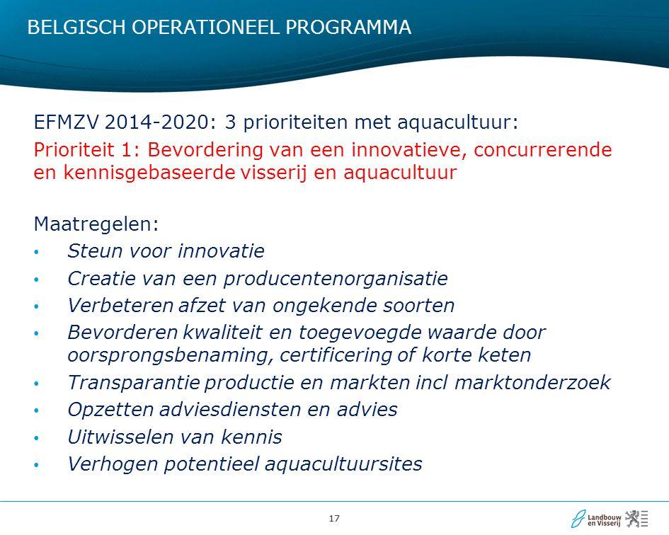 17 BELGISCH OPERATIONEEL PROGRAMMA EFMZV 2014-2020: 3 prioriteiten met aquacultuur: Prioriteit 1: Bevordering van een innovatieve, concurrerende en kennisgebaseerde visserij en aquacultuur Maatregelen: Steun voor innovatie Creatie van een producentenorganisatie Verbeteren afzet van ongekende soorten Bevorderen kwaliteit en toegevoegde waarde door oorsprongsbenaming, certificering of korte keten Transparantie productie en markten incl marktonderzoek Opzetten adviesdiensten en advies Uitwisselen van kennis Verhogen potentieel aquacultuursites