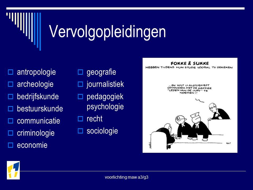 voorlichting maw a3/g3 Vervolgopleidingen  antropologie  archeologie  bedrijfskunde  bestuurskunde  communicatie  criminologie  economie  geografie  journalistiek  pedagogiek psychologie  recht  sociologie