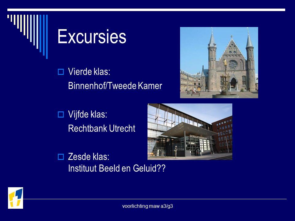 voorlichting maw a3/g3 Excursies  Vierde klas: Binnenhof/Tweede Kamer  Vijfde klas: Rechtbank Utrecht  Zesde klas: Instituut Beeld en Geluid??