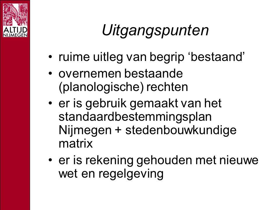 Uitgangspunten ruime uitleg van begrip 'bestaand' overnemen bestaande (planologische) rechten er is gebruik gemaakt van het standaardbestemmingsplan Nijmegen + stedenbouwkundige matrix er is rekening gehouden met nieuwe wet en regelgeving