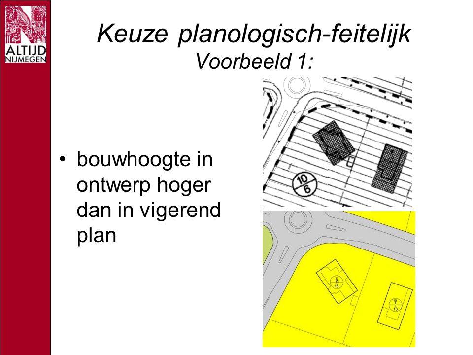 Keuze planologisch-feitelijk Voorbeeld 1: bouwhoogte in ontwerp hoger dan in vigerend plan