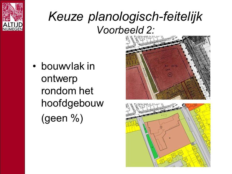 Keuze planologisch-feitelijk Voorbeeld 2: bouwvlak in ontwerp rondom het hoofdgebouw (geen %)