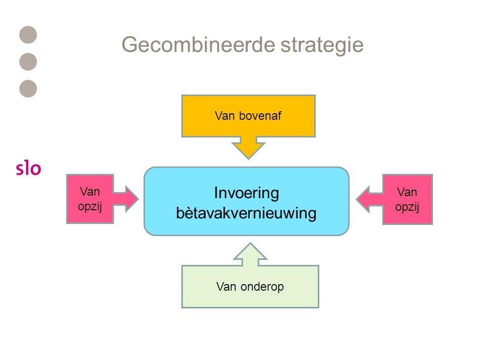 Gecombineerde strategie Invoering bètavakvernieuwing Van onderop Van bovenaf Van opzij