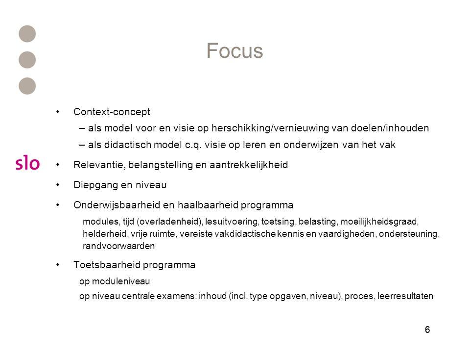 66 Focus Context-concept – als model voor en visie op herschikking/vernieuwing van doelen/inhouden – als didactisch model c.q. visie op leren en onder