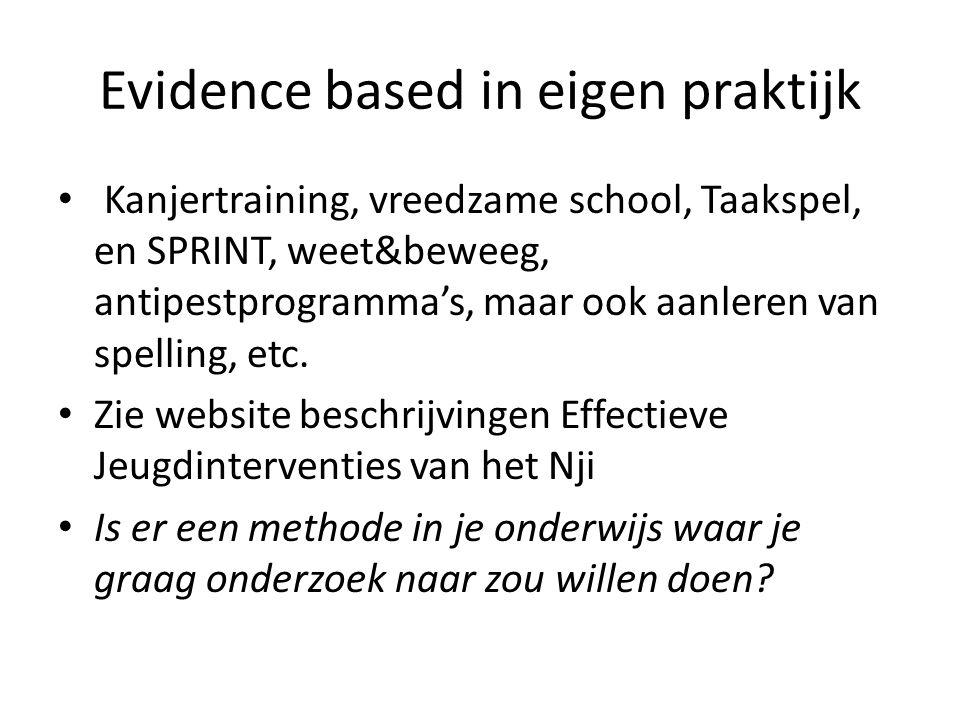 Evidence based in eigen praktijk Kanjertraining, vreedzame school, Taakspel, en SPRINT, weet&beweeg, antipestprogramma's, maar ook aanleren van spelling, etc.