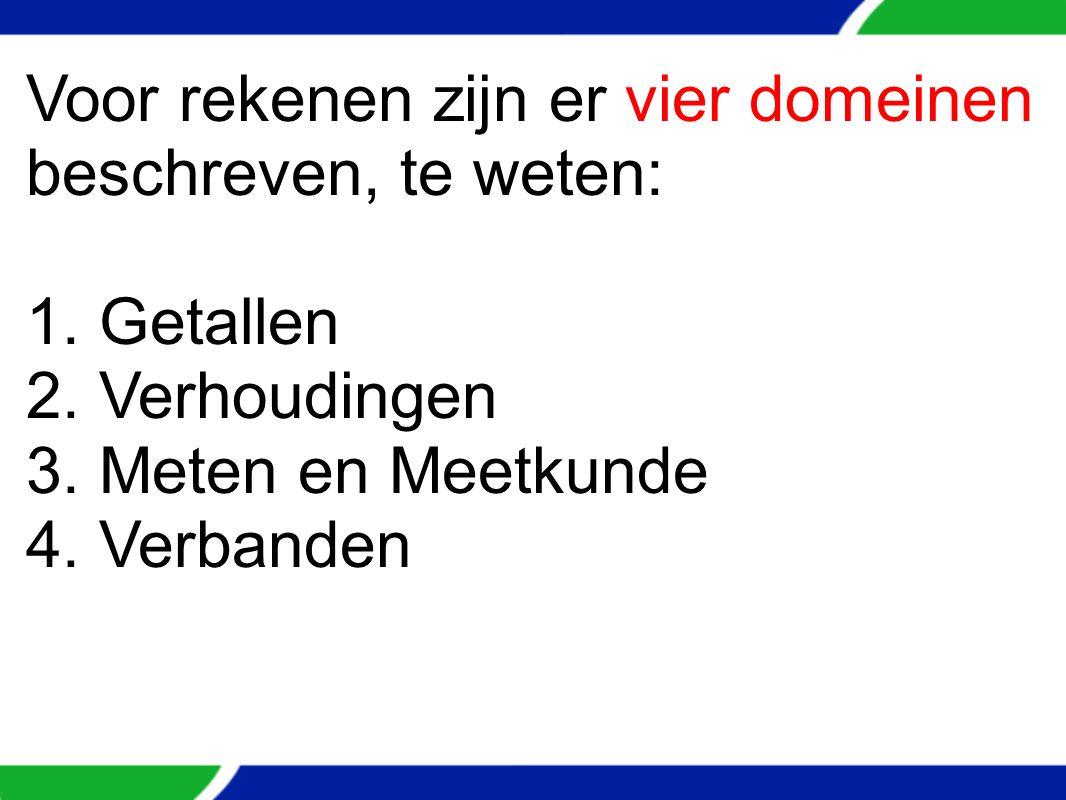 Voor rekenen zijn er vier domeinen beschreven, te weten: 1. Getallen 2. Verhoudingen 3. Meten en Meetkunde 4. Verbanden