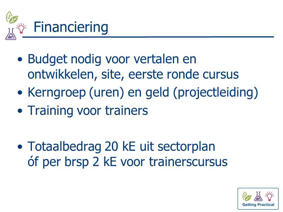 Financiering Budget nodig voor vertalen en ontwikkelen, site, eerste ronde cursus Kerngroep (uren) en geld (projectleiding) Training voor trainers Totaalbedrag 20 kE uit sectorplan óf per brsp 2 kE voor trainerscursus