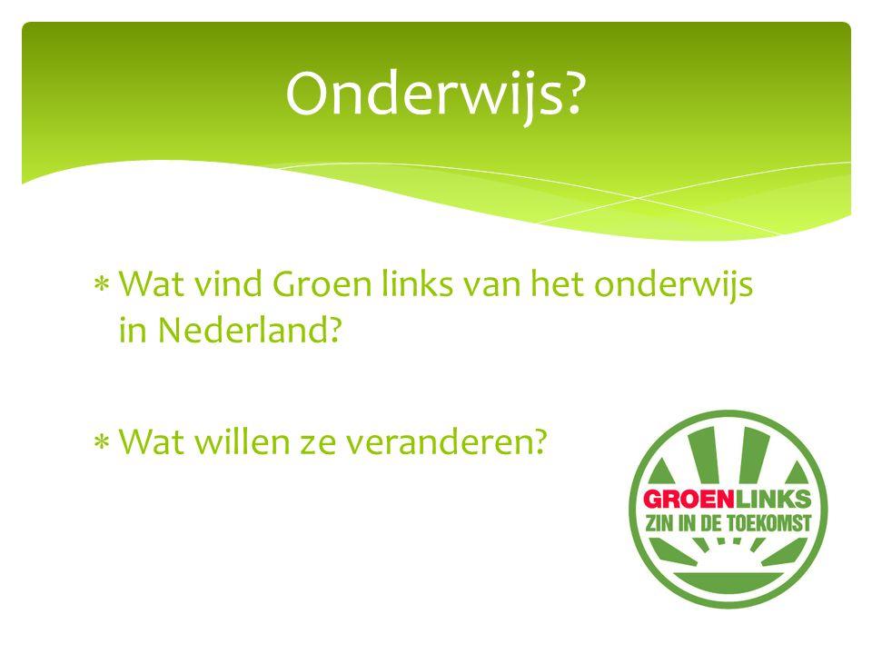  Wat vind Groen links van het onderwijs in Nederland?  Wat willen ze veranderen? Onderwijs?