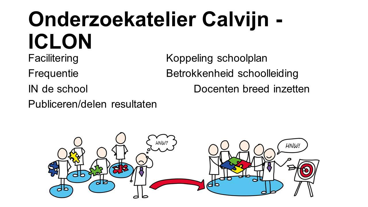 Onderzoekatelier Calvijn - ICLON FaciliteringKoppeling schoolplan FrequentieBetrokkenheid schoolleiding IN de schoolDocenten breed inzetten Publiceren