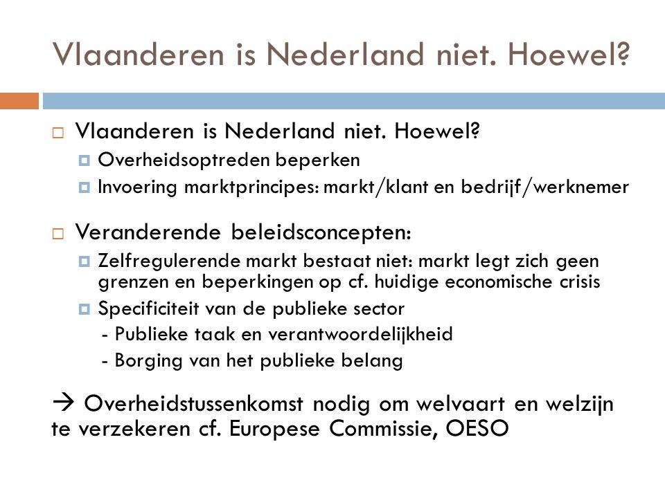 Vlaanderen is Nederland niet. Hoewel?  Vlaanderen is Nederland niet. Hoewel?  Overheidsoptreden beperken  Invoering marktprincipes: markt/klant en