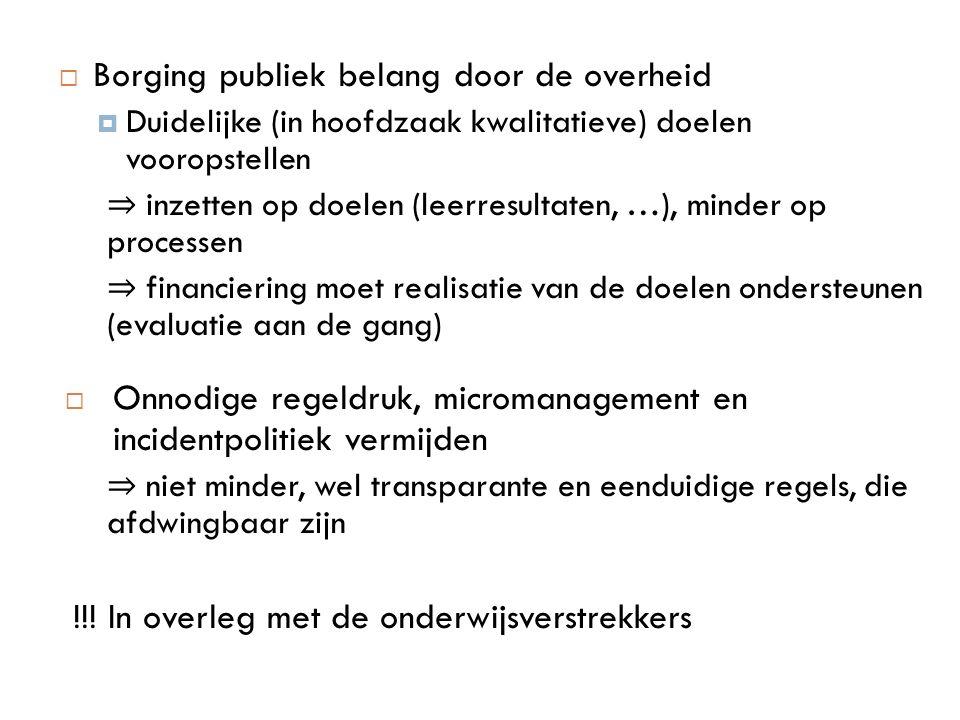 Borging publiek belang door de overheid  Duidelijke (in hoofdzaak kwalitatieve) doelen vooropstellen ⇒ inzetten op doelen (leerresultaten, …), mind
