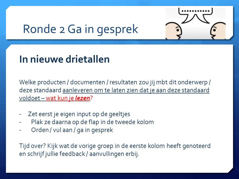 Ronde 2 Ga in gesprek In nieuwe drietallen Welke producten / documenten / resultaten zou jij mbt dit onderwerp / deze standaard aanleveren om te laten
