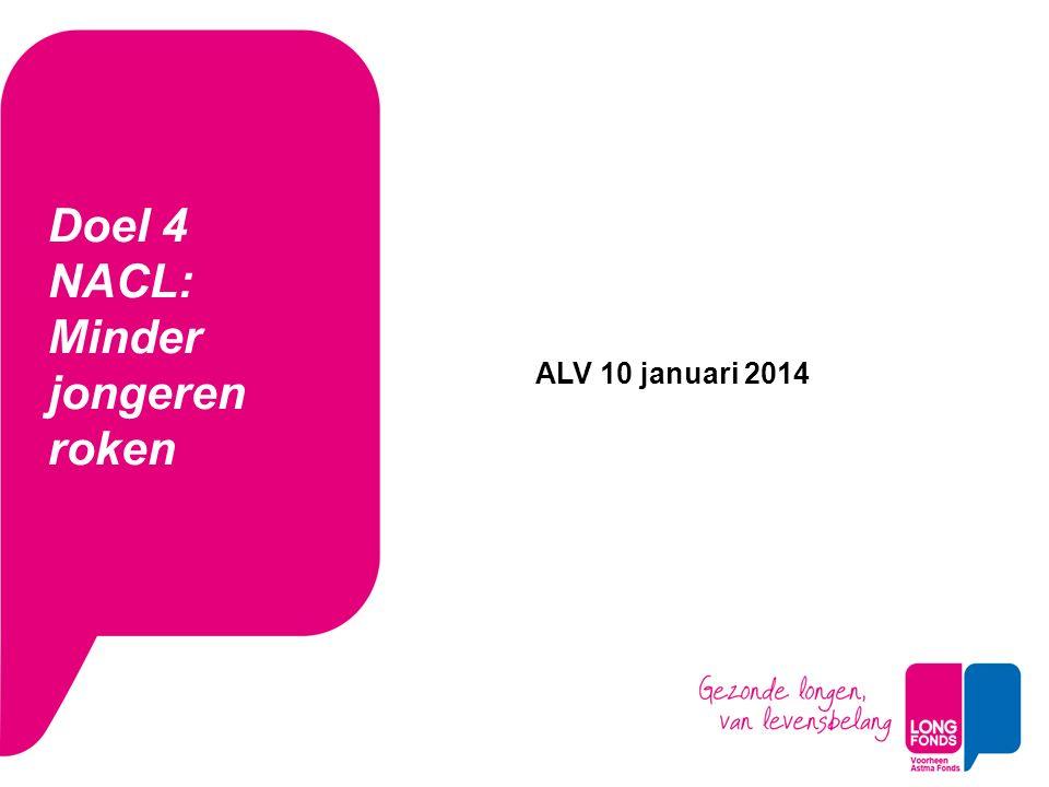 Doel 4 NACL: Minder jongeren roken ALV 10 januari 2014