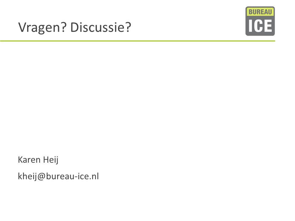 Vragen? Discussie? Karen Heij kheij@bureau-ice.nl