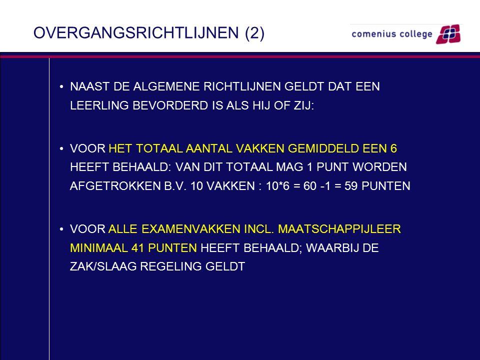 OVERGANGSRICHTLIJNEN (2) NAAST DE ALGEMENE RICHTLIJNEN GELDT DAT EEN LEERLING BEVORDERD IS ALS HIJ OF ZIJ: VOOR HET TOTAAL AANTAL VAKKEN GEMIDDELD EEN 6 HEEFT BEHAALD: VAN DIT TOTAAL MAG 1 PUNT WORDEN AFGETROKKEN B.V.