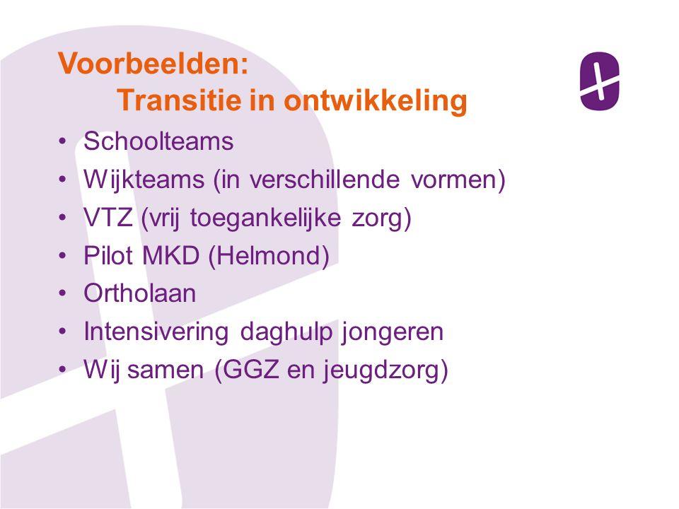 Schoolteams Wijkteams (in verschillende vormen) VTZ (vrij toegankelijke zorg) Pilot MKD (Helmond) Ortholaan Intensivering daghulp jongeren Wij samen (