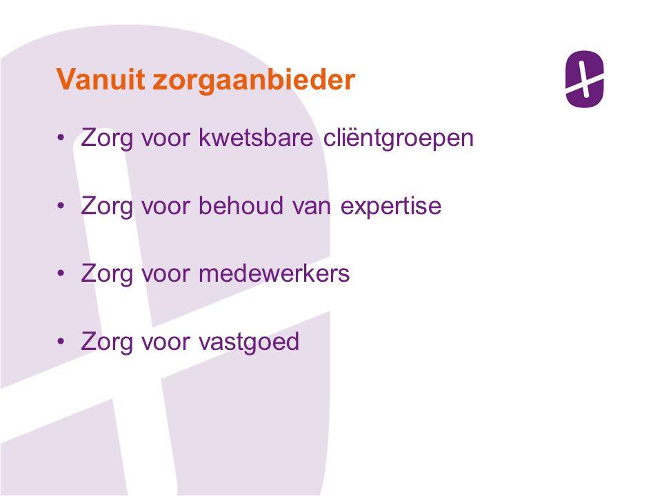 Zorg voor kwetsbare cliëntgroepen Zorg voor behoud van expertise Zorg voor medewerkers Zorg voor vastgoed Vanuit zorgaanbieder