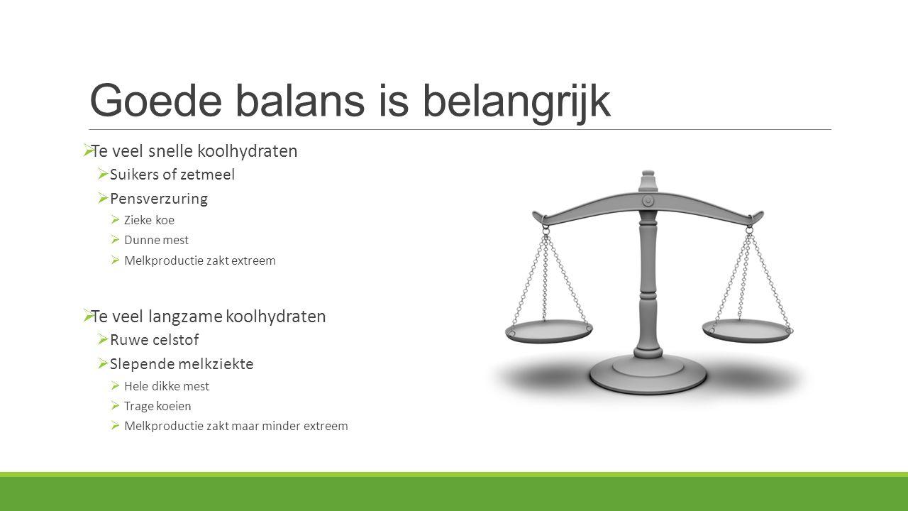 Goede balans is belangrijk  Te veel snelle koolhydraten  Suikers of zetmeel  Pensverzuring  Zieke koe  Dunne mest  Melkproductie zakt extreem 