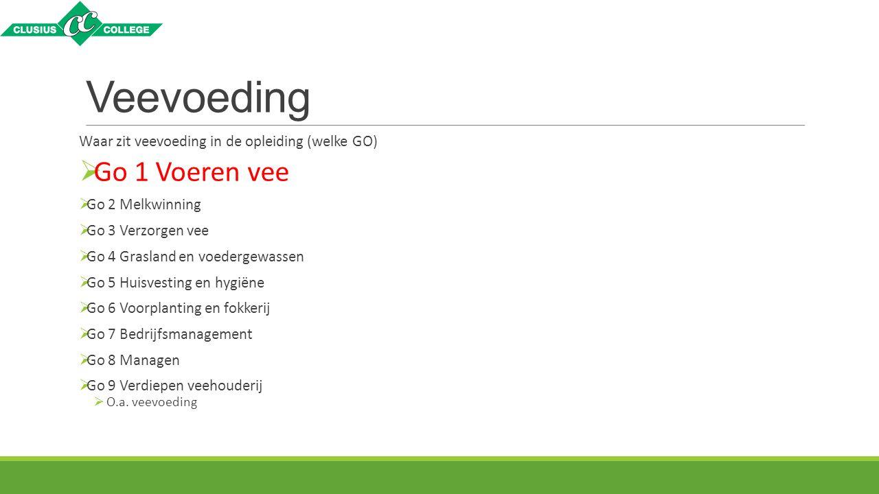 Veevoeding Waar zit veevoeding in de opleiding (welke GO)  Go 1 Voeren vee  Go 2 Melkwinning  Go 3 Verzorgen vee  Go 4 Grasland en voedergewassen