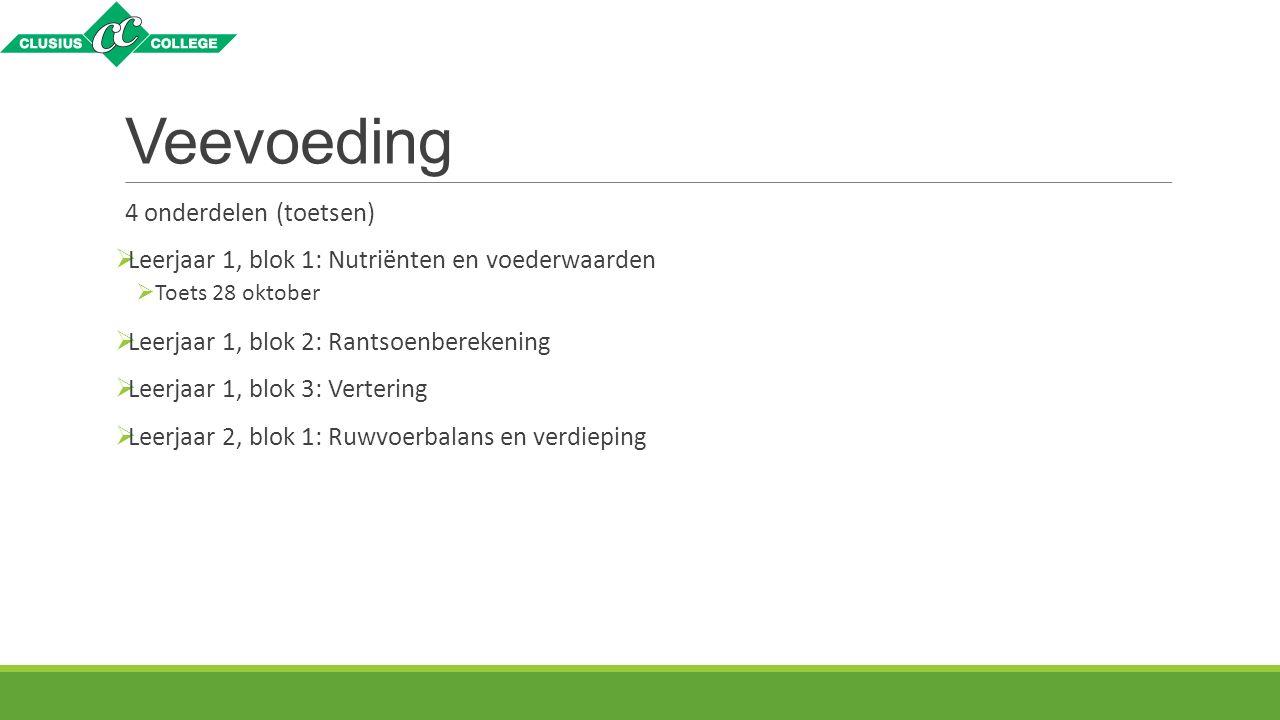 Veevoeding 4 onderdelen (toetsen)  Leerjaar 1, blok 1: Nutriënten en voederwaarden  Toets 28 oktober  Leerjaar 1, blok 2: Rantsoenberekening  Leer
