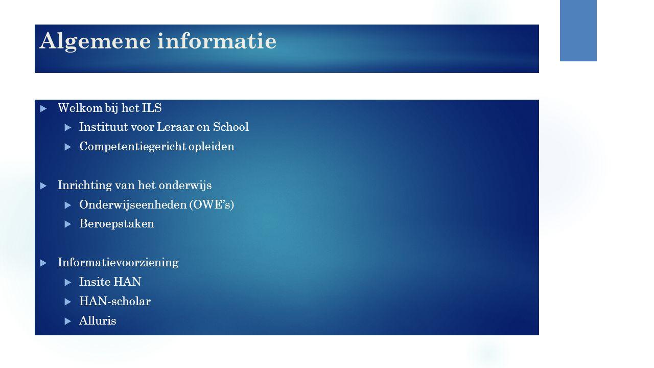Algemene informatie  Welkom bij het ILS  Instituut voor Leraar en School  Competentiegericht opleiden  Inrichting van het onderwijs  Onderwijseen