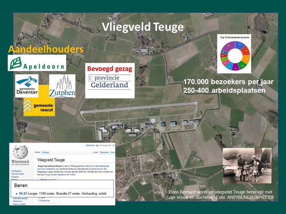 Vliegveld Teuge Prins Berhard wordt op vliegveld Teuge herenigd met zijn vrouw en dochters - Foto: ANP/BENELUXPRESS Aandeelhouders 170.000 bezoekers per jaar 250-400 arbeidsplaatsen