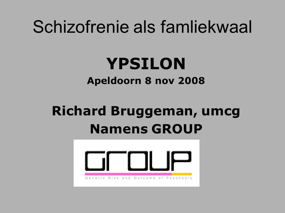 YPSILON Apeldoorn 8 nov 2008 Richard Bruggeman, umcg Namens GROUP Schizofrenie als famliekwaal