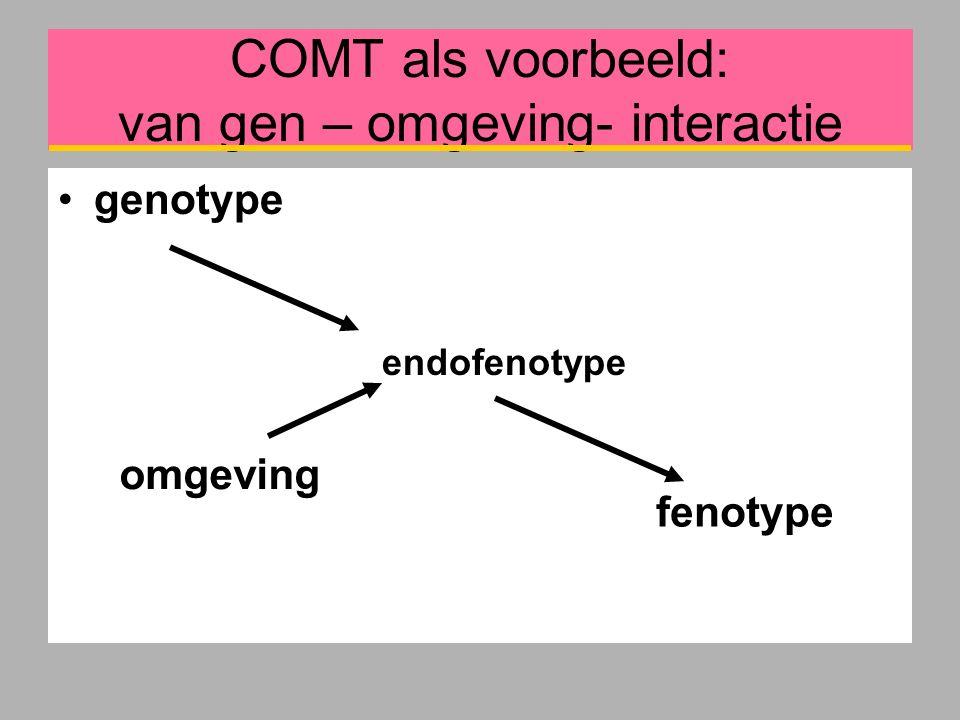 COMT als voorbeeld: van gen – omgeving- interactie genotype endofenotype fenotype omgeving