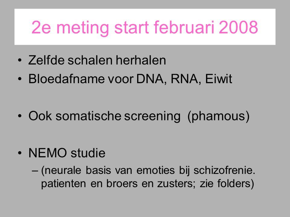 2e meting start februari 2008 Zelfde schalen herhalen Bloedafname voor DNA, RNA, Eiwit Ook somatische screening (phamous) NEMO studie –(neurale basis van emoties bij schizofrenie.