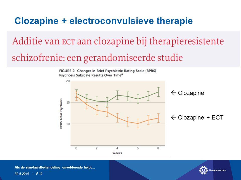 Clozapine + electroconvulsieve therapie 30-5-2016 Als de standaardbehandeling onvoldoende helpt… - # 10  Clozapine  Clozapine + ECT