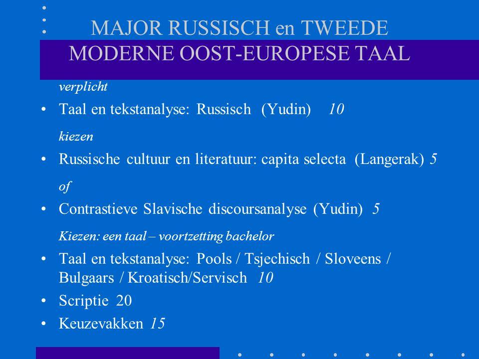 MAJOR RUSSISCH en TWEEDE MODERNE OOST-EUROPESE TAAL verplicht Taal en tekstanalyse: Russisch (Yudin)10 kiezen Russische cultuur en literatuur: capita selecta (Langerak) 5 of Contrastieve Slavische discoursanalyse (Yudin) 5 Kiezen: een taal – voortzetting bachelor Taal en tekstanalyse: Pools / Tsjechisch / Sloveens / Bulgaars / Kroatisch/Servisch 10 Scriptie 20 Keuzevakken 15