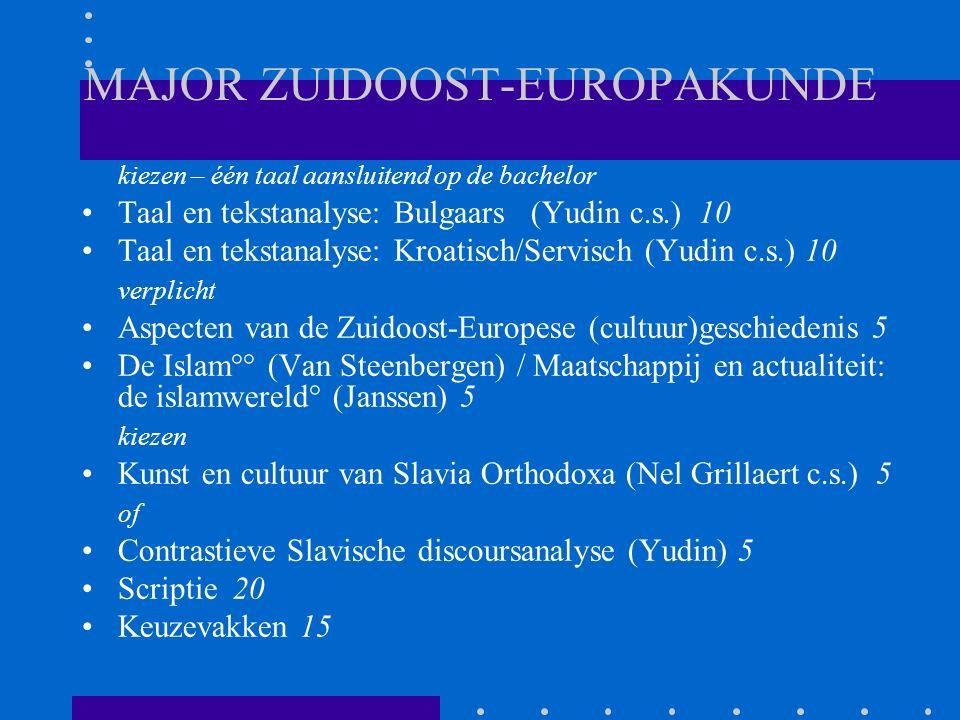 MAJOR ZUIDOOST-EUROPAKUNDE kiezen – één taal aansluitend op de bachelor Taal en tekstanalyse: Bulgaars (Yudin c.s.) 10 Taal en tekstanalyse: Kroatisch/Servisch (Yudin c.s.) 10 verplicht Aspecten van de Zuidoost-Europese (cultuur)geschiedenis 5 De Islam°° (Van Steenbergen) / Maatschappij en actualiteit: de islamwereld° (Janssen) 5 kiezen Kunst en cultuur van Slavia Orthodoxa (Nel Grillaert c.s.) 5 of Contrastieve Slavische discoursanalyse (Yudin) 5 Scriptie 20 Keuzevakken 15