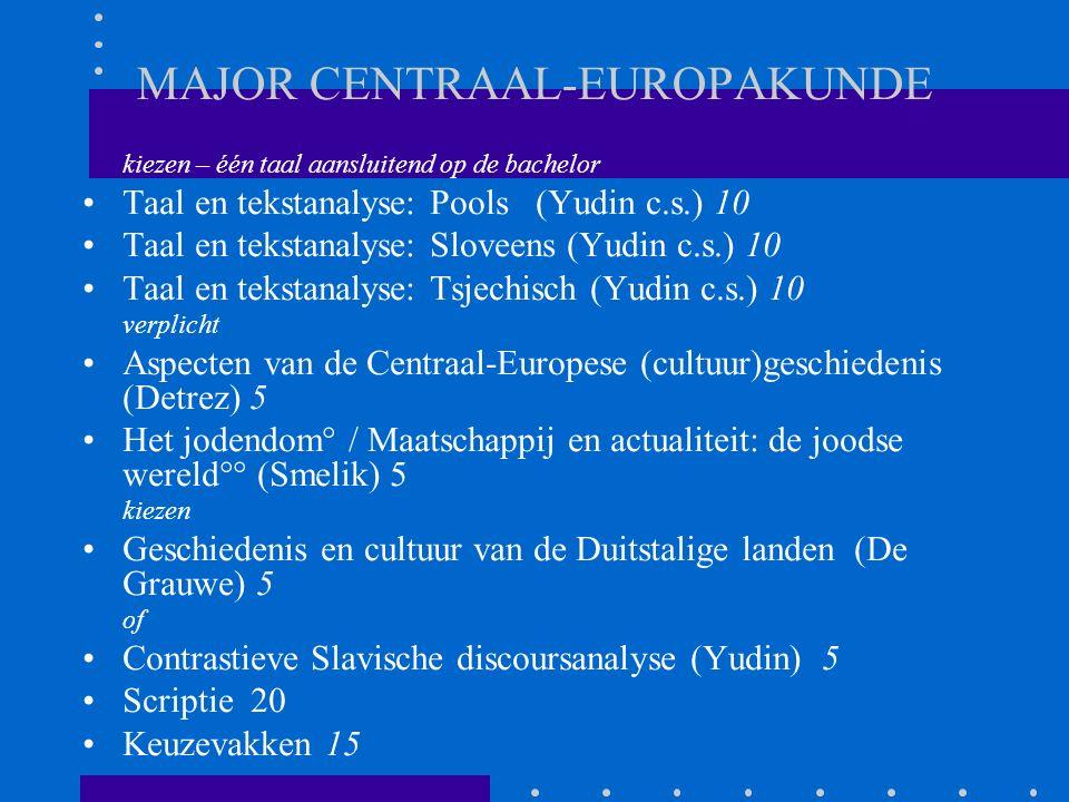 MAJOR CENTRAAL-EUROPAKUNDE kiezen – één taal aansluitend op de bachelor Taal en tekstanalyse: Pools (Yudin c.s.) 10 Taal en tekstanalyse: Sloveens (Yudin c.s.) 10 Taal en tekstanalyse: Tsjechisch (Yudin c.s.) 10 verplicht Aspecten van de Centraal-Europese (cultuur)geschiedenis (Detrez) 5 Het jodendom° / Maatschappij en actualiteit: de joodse wereld°° (Smelik) 5 kiezen Geschiedenis en cultuur van de Duitstalige landen (De Grauwe) 5 of Contrastieve Slavische discoursanalyse (Yudin) 5 Scriptie 20 Keuzevakken 15